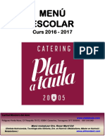 Menús 2016-2017 Catering Plat a Taula