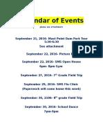 calendar of events - september
