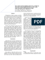 Modeling and Simulation of Polymerization of Lactide to Polylactic