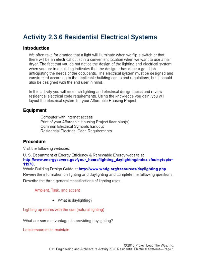 2 3 6 aresidentialelectricalsystems docx   Lighting   Technology