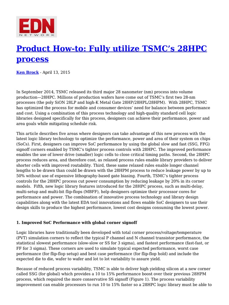 Product How to Fully Utilize TSMC s 28HPC Process | System