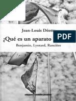 """DEOTTE, Jean-Louis - Que Es Un Aparato Estetico. Cap. 3 """"Walter Benjamin, la cuestión de la técnica y el cine"""""""