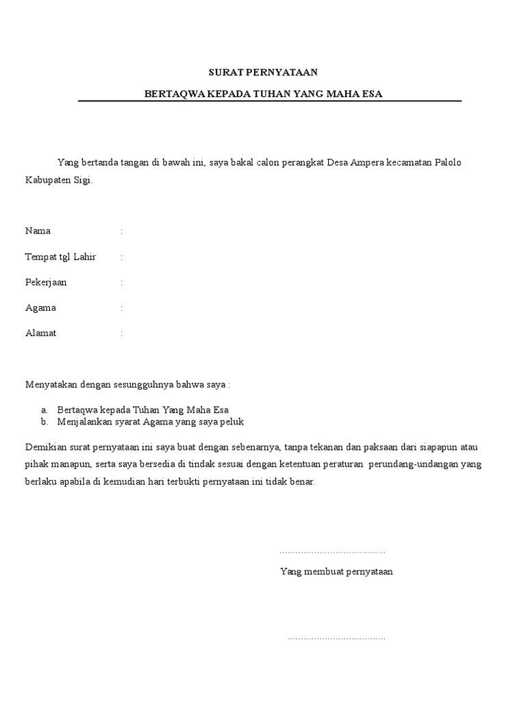 Surat Pernyataan Bertaqwa Docx