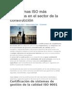 Las Normas ISO Más Utilizadas en El Sector de La Construcción