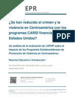 ¿Se han reducido el crimen y la violencia en Centroamérica con los programas CARSI financiados por Estados Unidos? Un análisis de la evaluación de LAPOP sobre el impacto de los Programas Estadounidenses de Prevención de Violencia en Centroamérica