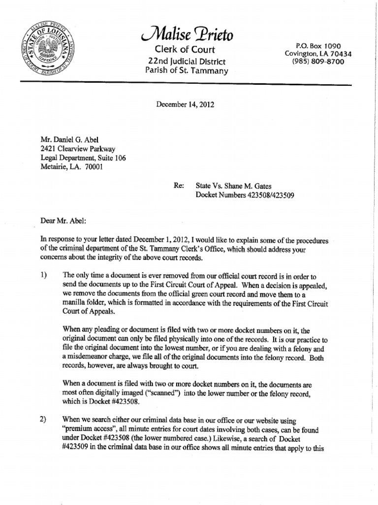 Altered Records ST Tammany Clerk of Court Prieto Letter in