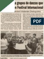 Satélite 24-08-07 Distinguen a grupos de danzas que participan en Festival Internacional