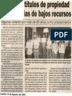 Satélite 10-08-07 Entregan títulos de propiedad a 18 familias de bajos recursos