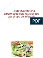 El apetito durante una enfermedad está relacionado con el tipo de infección