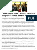 15-09-16 Celebra Gobernadora Pavlovich grito de Independencia con miles en Hermosillo. -Critica
