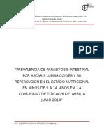 Prevalencia de Parasitosis Intestinal