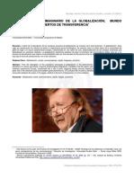 SLOTERDIJK Y EL IMAGINARIO DE LA GLOBALIZACIÓN. MUNDO SINCRÓNICO Y CONCIERTOS DE TRANSFERENCIA. DR. ADOLFO VÁSQUEZ ROCCA