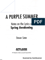 A Purple Summer Notes on the Lyrics of Spring Awakening