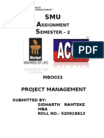 MB0033 PROJECT MANAGEMENT