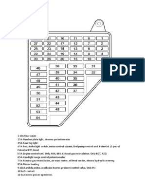 Fuse Box Layout Polo 2004 | Engines | Fuel Injection