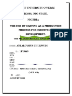 THE USE OF CASTING AS A PRODUCTION PROCESS FOR INDUSTRIAL DEVELOPMENT