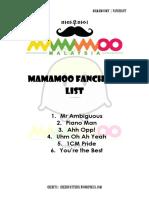 Mamamoo Fanchant List