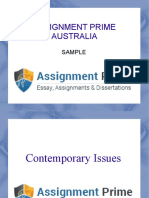Assignment Prime Sample on Contemporary Issues