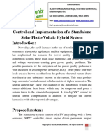 Control and Implementation of a Standalone Solar Photo-Voltaic Hybrid System