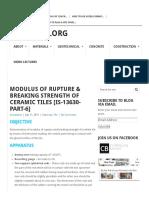 Modulus of Rupture & Breaking Strength of Ceramic Tiles [is-13630-Part-6] - Civilblog