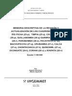Memoria Descriptiva de La Revisión y Actualización de Los Cuadrángulos de Río Picha (25-p), Timpia (25-q), Chuanquiri (26-p), Quillabamba (26-q) Quebrada Honda (26-r), Parobamba (26-s), Pacaypata (27-p),