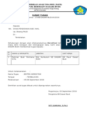 Surat Tugas Guru Paud Tk Kb
