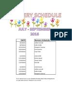 2016 4TH QTR Nursery Schedule