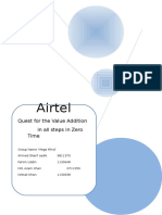 Marketing management (Quest for the Value Addition in all steps in Zero Time Airtel)
