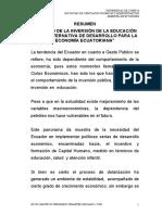 """""""IMPACTO DE LA INVERSIÓN DE LA EDUCACIÓN COMO ALTERNATIVA DE DESARROLLO PARA LA ECONOMÍA ECUATORIANA"""""""