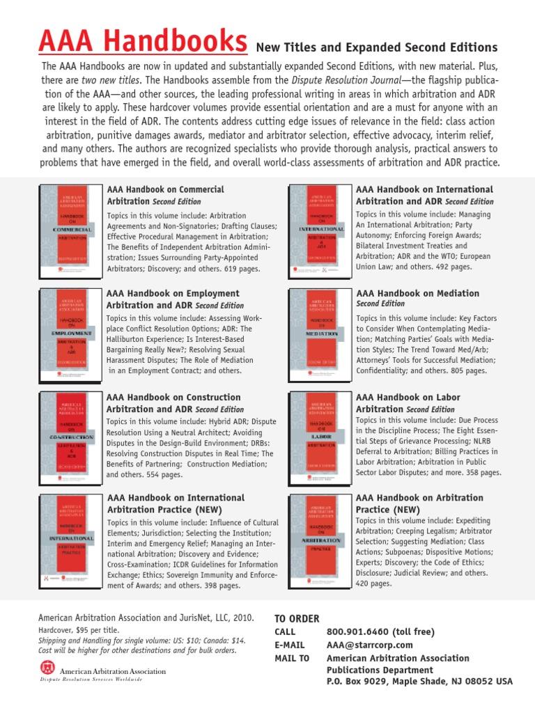 Aaa handbook ad alternative dispute resolution mediation fandeluxe Images