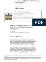 Why Do Language Use and Tool Use Both Count as Manifestations of Intelligence?