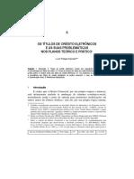Os Títulos de Crédito Eletrônicos e as Suas Problemáticas Nos Planos Teórico e Prático