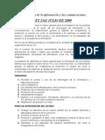 LEY 1341 JULIO DE 2009/ NORMA TÉCNICA COLOMBIANA (NTC-ISO/IEC 27001)