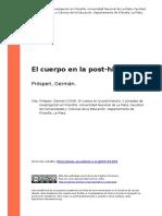 Prosperi, German (2004). El Cuerpo en La Post-historia