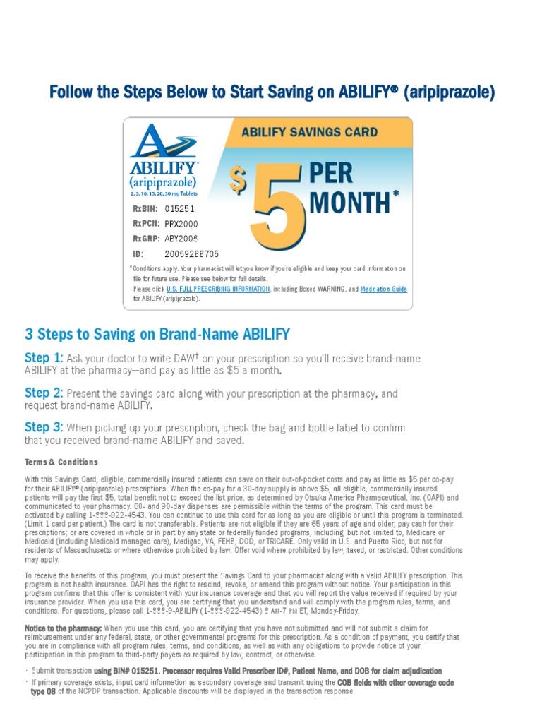 ABILIFY® (aripiprazole) Savings Card Program   Medical Prescription    Pharmacy