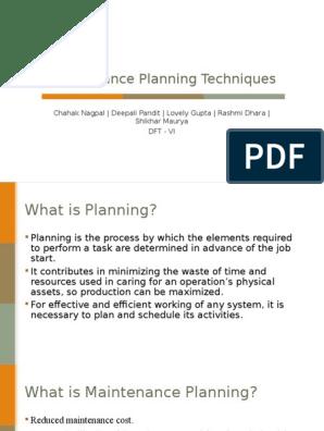 Maintenance Planning Techniques | Estimation | Business