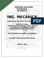 Evaluación de Proyecto Mecánico (empresa Soldadura)