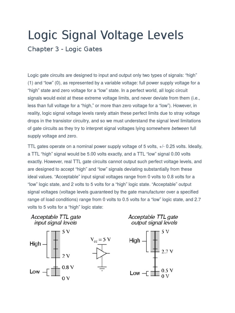 Logic Signal Voltage Levelsdocx Cmos Electronic Circuits Ttl To Rs232 Level Converter Using Transistor Circuit