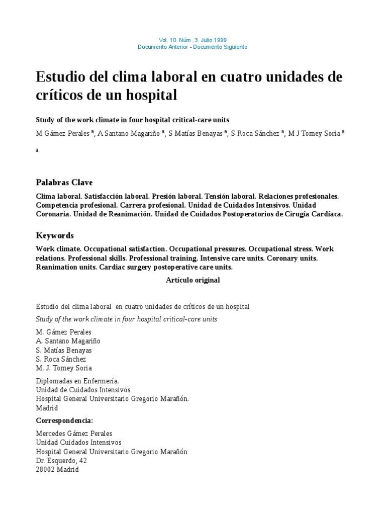 Estudio Del Clima Laboral en Cuatro Unidades de Críticos de Un ...