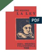 Santo Tomas de Aquino TRATADO DE  LA LEY