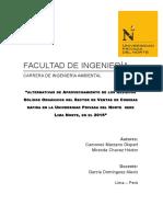 Alternativas de Aprovechamiento de Los Residuos Sólidos Orgánicos Del Sector de Ventas de Comidas Rápida en La Universidad Privada Del Norte Sede Lima Norte, En El 2016