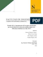 Estudio de La Contaminación de Las Aguas Superficiales Por La Actividad de La Extracción Aurífera Ilegal en La Subcuenca Inambari en El Año 2016