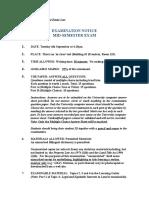 Real Estate - Mid Semester Examination Notice 2016