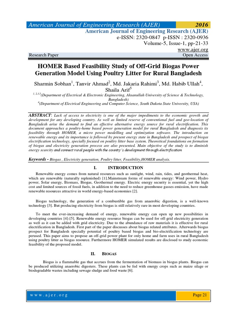HOMER Based Feasibility Study of Off-Grid Biogas Power