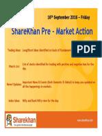 Sharekhan Pre Market 16th September 2016 Friday