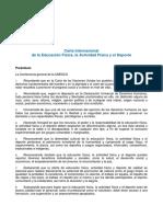 Carta Internacional de La Educación Física - UNESCO