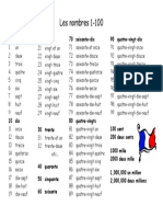 French Numbers Handout 1-100