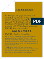 LAW 421 Final Exam | LAW 421 Week 3  @ Studentwhiz