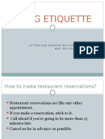 Dinning Ettiquette for formal and business occassions