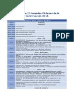 Programa II Jornadas Chilenas de La Construcción 2016